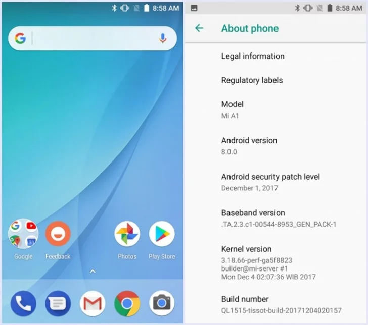Android 8.0 Beta Xiaomi Mi A1